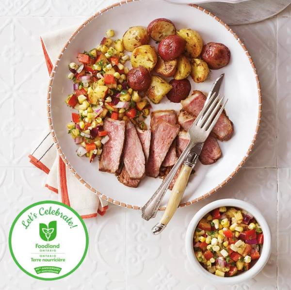 Grilled Steaks with Corn and Nectarine Sals